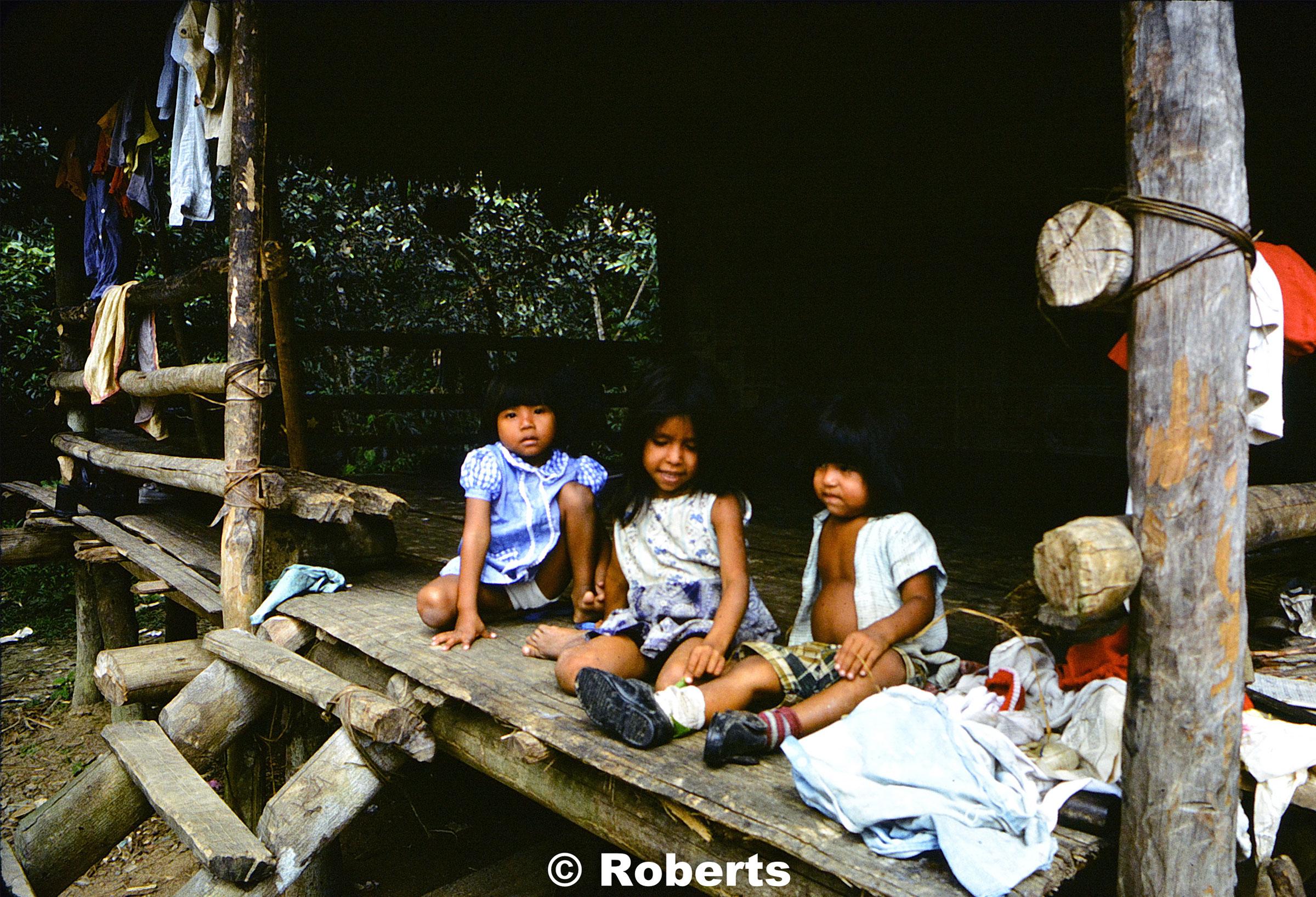 Getting ready for church. Upper Amazon River Basin, Peru. June, 1977.