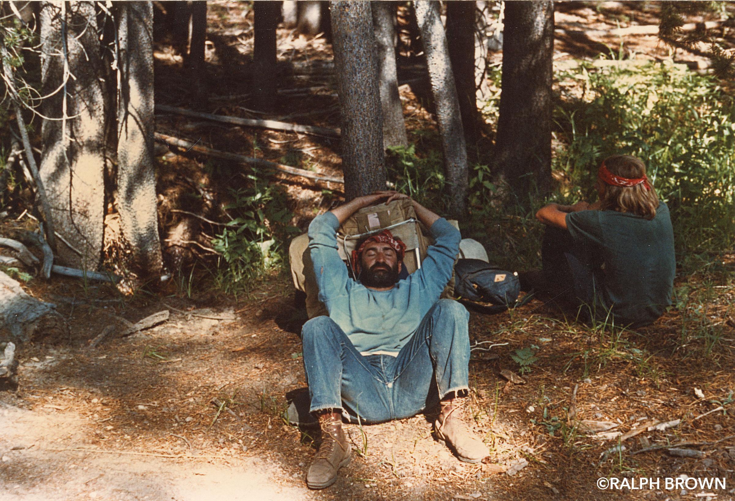 Trail crew getaway. Near Vogelsang High Sierra Camp. Yosemite National Park, California. (L to R): Donald Samuel, Shelley Evans, Jack Knieriemen, and Larry Roberts. Image by Ralph Brown. Summer, 1973.