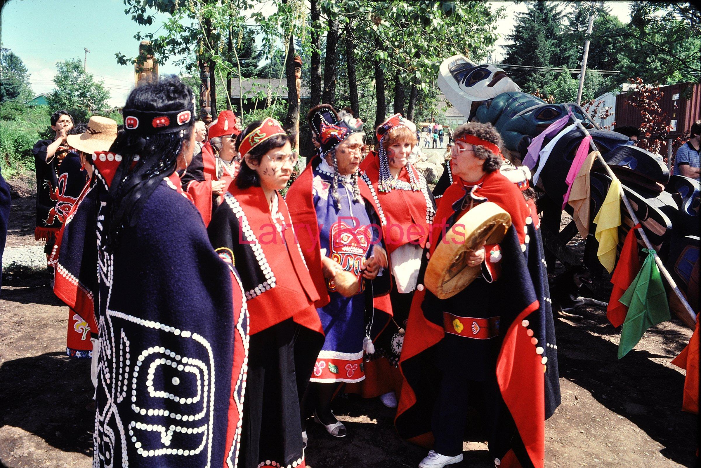 Tlingit Dancers, Totem Poles Dedication, Wrangell, Alaska. July 1987.