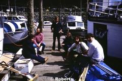 Southeast Alaska Field Survey Team (L to R): Carol Rawlinson, Russell Sackett, Larry Roberts, Larry Arden Woodall, Marquam George, and Peter Ekstrom. Harris Boat Harbor, Juneau, Alaska. May, 1979.