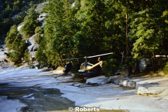 Helicopter Rescue, Emerald Pool/Vernal Falls, Yosemite National Park, California. Fall, 1974.