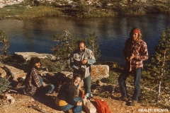 Breaktime on the trail. Yosemite National Park, California. (L to R): Jack Knieriemen and Larry Roberts. Summer, 1973.